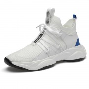 Hidden Height Elastic Fabric Mesh Shoes White Lightweight Hollow Out Elevator Sneakers Gain Taller 3.2inch / 8cm