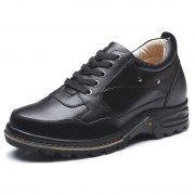Mens genuine leather black elevator casual shoes increase 9 cm / 3.54 inch taller