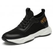 Hidden Lift Men Lifestyle Sneakers Black Mesh Lightweight Slip On Running Shoes Add Height 3inch / 7.5cm