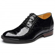 Supreme alligator wedding shoes add height 7cm / 2.75inch black elevator oxfords