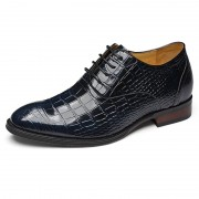 Supreme alligator wedding shoes height increasing 7cm / 2.75inch blue taller oxfords