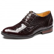 Supreme alligator wedding shoes get taller 7cm / 2.75inch coffee height increasing oxfords
