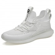 Stylish White ETPU Popcorn Sole Sneakers Hidden Height Fitness Shoes Gain Tall 2.8inch / 7cm