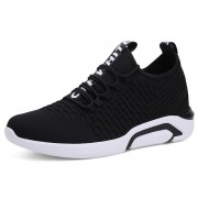 Black Breathable Men Taller Sneakers Korean Lightweight Mesh Shoes Add Height 2.8inch / 7cm