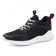 Black Elevator Walking Fitness Shoes Lace Up Hidden Heel Flyknit Sneakers Taller 3.4inch / 8.5cm