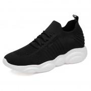 2020 New Elevator Tubular Sneakers Black Flyknit Slip On Sock Running Shoes Add Taller 2.4inch / 6cm