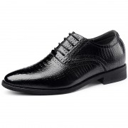 Italian Crocodile Pattern Elevator Oxford Shoes 2.6inch / 6cm Black Pointed Height Business Shoes
