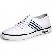 White Elevator Skateboarding Shoes Calfskin Casual Shoes Taller 2.4inch / 6cm