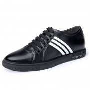 Black Elevator Skateboarding Shoes Calfskin Casual Shoes Increase 2.4inch / 6cm