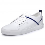 Unisex Elevator Skate Shoes White-Blue Genuine Leather Lift Casual Shoes Taller 2.4inch / 6cm
