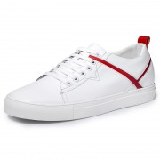 Unisex Elevator Skate Shoes White-Red Genuine Leather Lift Casual Shoes Increase 2.4inch / 6cm