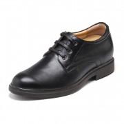 Black cowhide men hidden heel dress shoes 5.5cm / 2.17 inch plain toe shoes