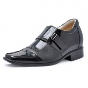 Patent Leather Dress fashion shoes with hidden heels 7cm/2.75inch elevator shoes