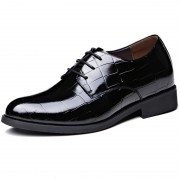 Add Taller 3.2inch / 8cm Black Plaid Design Lace Up Elevator Wedding Shoes