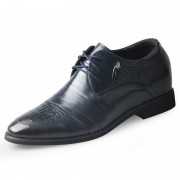 Premium business elevation formal shoes 6.5cm / 2.56inch blue hidden heel derby shoe