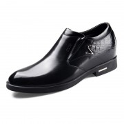 Low-Top elevator formal cotton shoes 6.5cm / 2.56inch black slip on dress shoes