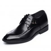 Shiny upper formal height elevator lace-up shoe 6.5cm / 2.56inch black taller derbies
