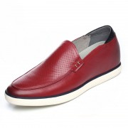 Soft upper soft sole taller loafers add height 6cm / 2.36inch red slip on driving shoes