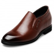 Plain Height Slip On Dress Shoes 2.4inch / 6cm Brown Elevator Formal Loafers