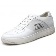 Korean Hidden Lift Skate Shoes White Platform Casual Shoes Add Taller 2.4inch / 6cm