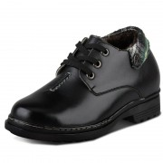 Winter black elevator shoes with wool lining height increaseing 9cm / 3.54 inches casual shoe
