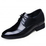height increasing cap toe oxfords 6.5cm / 2.56inch black business formal taller shoes