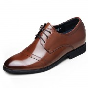 elevator cap toe oxfords 6.5cm / 2.56inch brown business formal height shoes