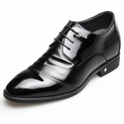 Shiny wrinkle upper cap toe taller business shoes 2.6inch / 6.5cm