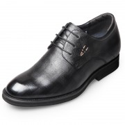 Lightweight Elevaor Dress Shoes Height 2.6inch / 6.5cm Embossing Calf Leather Taller Derby Shoes