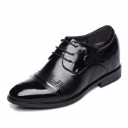 Extra height wedding shoes add taller 8cm / 3.15inch black cap toe formal shoes