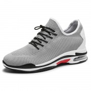 Grey Elevated Racing Shoes Flyknit Fashion Trainers That Make Men Taller 3.4inch / 8.5cm
