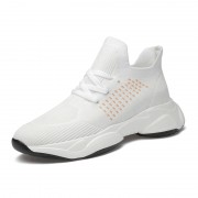 Flexibly Height Boosting Workout Shoes White Slip On Training Loafers Can Be Taller 3inch / 7.5cm