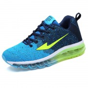 Blue Flyknit Height Increasing Trail Runners Elevated Fashion Sneakers Add Tall 3.2inc / 8cm