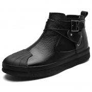 Monk Strap Hidden Heel Ankle Boots Taller 2.6inch / 6.5cm Black Cap Toe Elevator Chelsea Boot