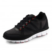 Lightweight elevator sneakers increase height 6.5cm / 2.56inch black breathable running shoes