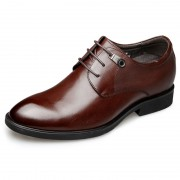 Plain Taller Tuxedo Shoes Brown Lace Up Height Wedding Shoes 2.6inch / 6.5cm