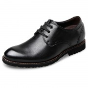 Lightweight Casual Elevator Shoes 2.6inch / 6.5cm Black Soft Calfskin Height Enhancing Shoes