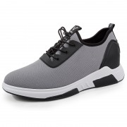 Fashion Taller Men Sneakers Gray Slip On Walking Shoes Increasing 3.2inch / 8cm