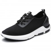 Designer height increasing campus shoes 2.4inch / 6cm black mesh elevator sneakers