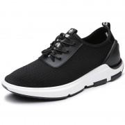 Designer height increasing campus shoes 2.4inch / 6cm black mesh elevator sneakers