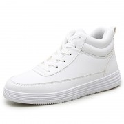Fashion High Top Elevator Skate Shoes White Leather Men Sneakers Increase Height 2.8inch / 7cm