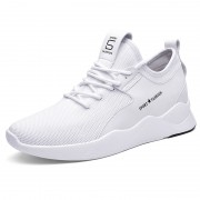 Flexible Lightweight Height Increasing Fashion Sneakers White Flyknit Slip On Walking Shoes Boost 2.8inch / 7cm