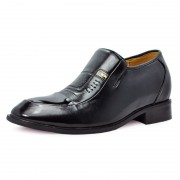 Black Leather Dress Elevator Heighten Shoes 7cm/2.75inch taller shoes
