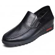 Black soft soled heel lifts sandals 5.5cm / 2.17inch soft vamp slip on boat shoes