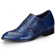 Exalted lace up height formal shoes 6.5cm / 2.56inch blue elevator oxford shoes