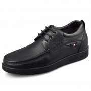 Lightweight elevator casual shoes get taller 6cm / 2.36inch black driver shoes
