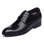 Honorable elevator wedding shoes 6.5cm / 2.56inch black python pattern lace up oxfords