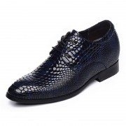 Honorable elevator wedding shoes 6.5cm / 2.56inch blue python pattern lace up oxfords