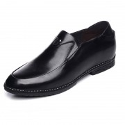 Quality calfskin formal boat shoes add height 6cm / 2.36inch black elevator loafers