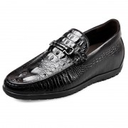 2017 Alligator Crocodile Print Elevator Loafers 2.4inch Taller Black Slip On Dress Shoes
